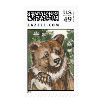 Grizzly Bear Cub Stamp