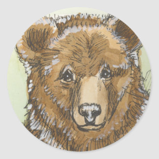 Grizzly Bear Cub Watching Classic Round Sticker