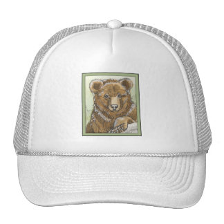Grizzly Bear Cub Watching Trucker Hat