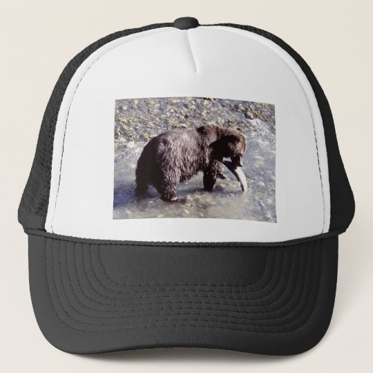 Grizzly Bear Eating a Salmon Trucker Hat
