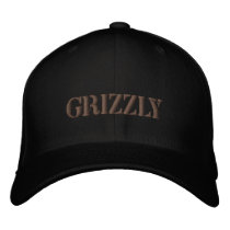 GRIZZLY BEAR EMBROIDERED BASEBALL CAP