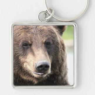 Grizzly Bear Face Keychain