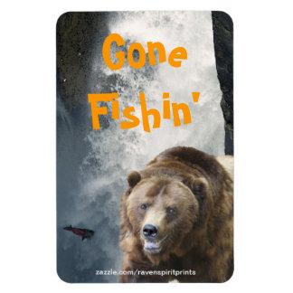 Grizzly Bear & Falls Wildlife Art Flexi Magnet