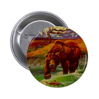 Grizzly Bear Fishing Wildlife Bears Gifts Gift Button