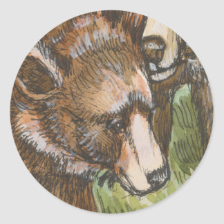 Grizzly Bear Friends Classic Round Sticker