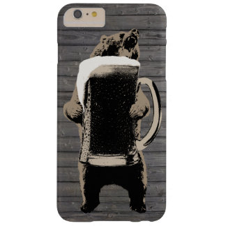 Grizzly Bear & Giant Beer Cup Wood Background Barely There iPhone 6 Plus Case