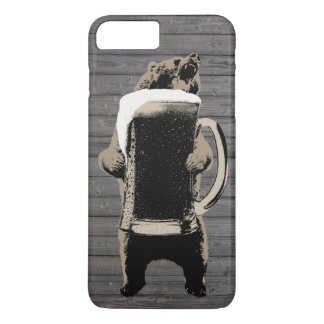 Grizzly Bear & Giant Beer Cup Wood Background iPhone 8 Plus/7 Plus Case