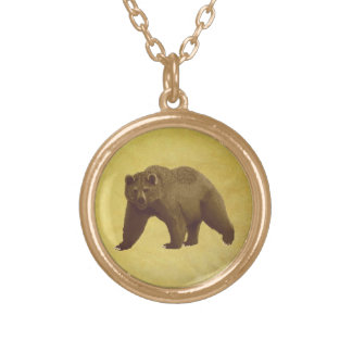 Grizzly Bear Gold Plated Necklace