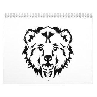 Grizzly bear head calendar