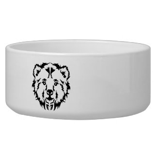 Grizzly bear head dog bowl