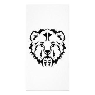 Grizzly bear head photo card