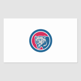 Grizzly Bear Head Side Circle Retro Rectangular Stickers