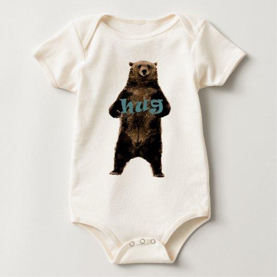 Grizzly bear hug design baby bodysuit