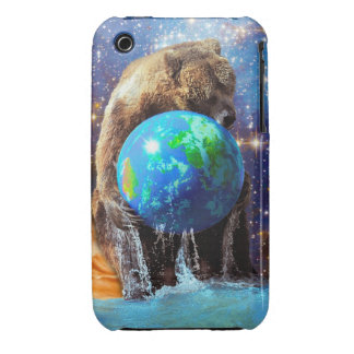 Grizzly Bear Hugging Planet Earth Day iPhone 3 Cases