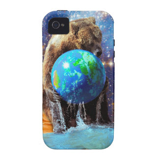 Grizzly Bear Hugging Planet Earth Day iPhone 4 Case