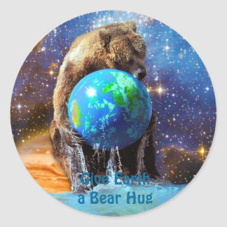 Grizzly Bear Hugging Planet Earth Day Sticker