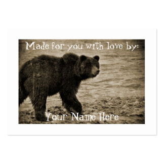 Grizzly Bear in Antique Large Business Card