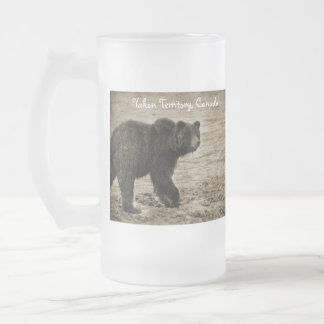 Grizzly Bear in Antique 16 Oz Frosted Glass Beer Mug