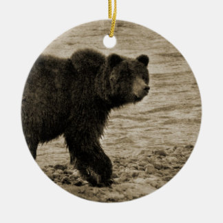 Grizzly Bear in Antique Double-Sided Ceramic Round Christmas Ornament