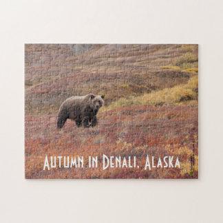Grizzly Bear In Autumn Denali, Alaska Foliage Jigsaw Puzzle