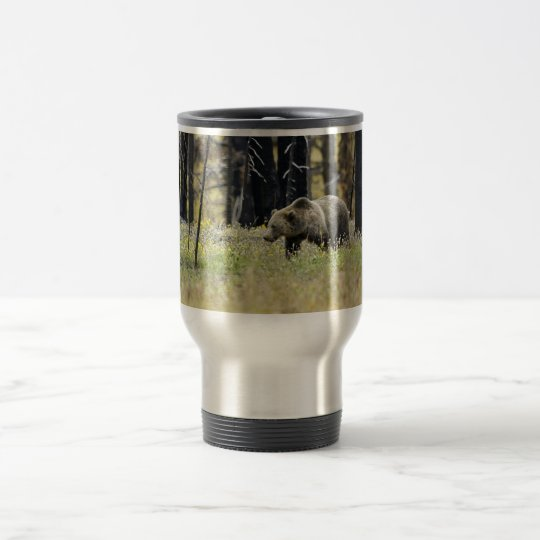 Grizzly Bear in Field at Yellowstone National Park Travel Mug