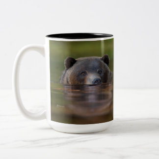 Grizzly Bear in green waters, double print mug