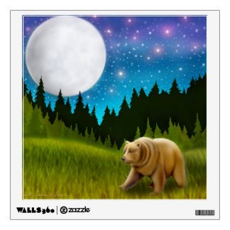 Grizzly Bear in the Moonlight Wall Decal