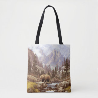 Grizzly Bear Landscape All-Over-Print Tote Bag
