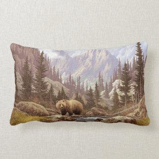 Grizzly Bear Landscape Lumbar Pillow
