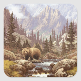Grizzly Bear Landscape Square Stickers