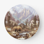 Grizzly Bear Landscape Wall Clock