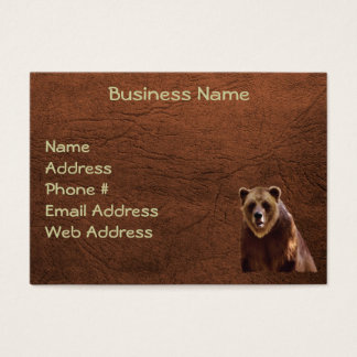 Grizzly Bear Leather-effect Business Cards