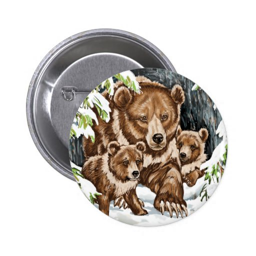 Grizzly Bear Mother and Cubs in Winter 2 Inch Round Button