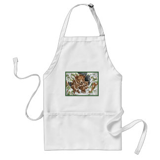 Grizzly Bear Mother and Cubs in Winter Adult Apron