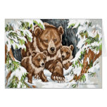 Grizzly Bear Mother and Cubs in Winter Greeting Card
