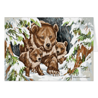 Grizzly Bear Mother and Cubs in Winter Card