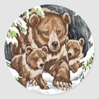 Grizzly Bear Mother and Cubs in Winter Classic Round Sticker