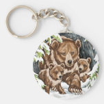 Grizzly Bear Mother and Cubs in Winter Keychains