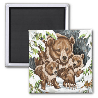 Grizzly Bear Mother and Cubs in Winter 2 Inch Square Magnet