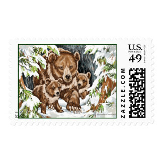Grizzly Bear Mother and Cubs in Winter Postage