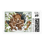 Grizzly Bear Mother and Cubs in Winter Stamps