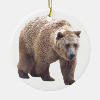 Grizzly Bear Double-Sided Ceramic Round Christmas Ornament