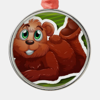 Grizzly bear round metal christmas ornament