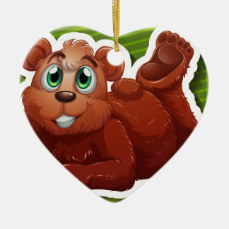 Grizzly bear Double-Sided heart ceramic christmas ornament
