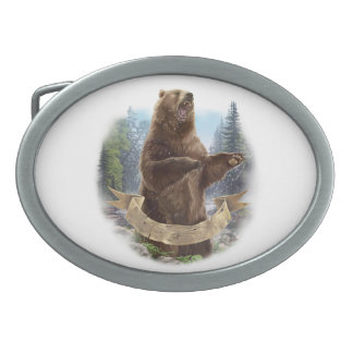 Grizzly Bear Oval Belt Buckle