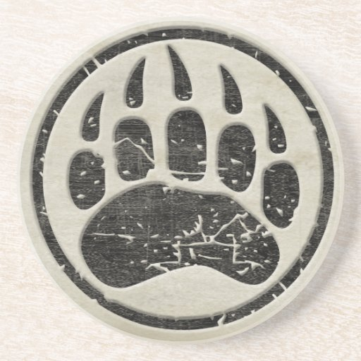Grizzly Bear Paw Print Drink Coasters