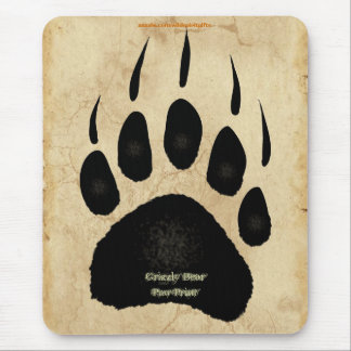 Grizzly Bear Paw Print Wildlife Supporter Mousepad