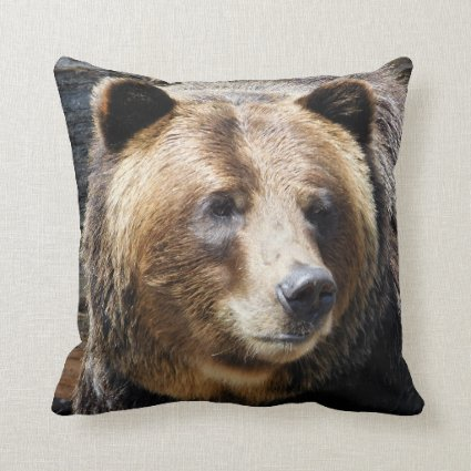 Grizzly Bear Photo Throw Pillow