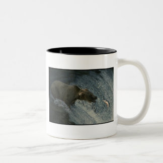 Grizzly Bear  Picture-Fishing for Salmon Two-Tone Coffee Mug