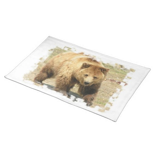 Grizzly Bear Placemat Cloth Place Mat